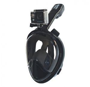 מסכת צלילה לנוער ובוגרים Aquaview180° עם עדשה עגולה ושנורקל מובנה | שחורה