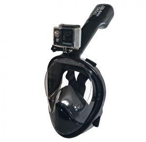 מסכת צלילה לנוער ובוגרים Aquaview180° עם שנורקל מובנה | שחורה