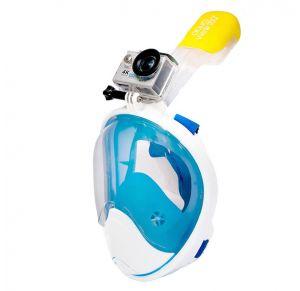 מסכת צלילה לנוער ובוגרים Aquaview180° עם עדשה עגולה ושנורקל מובנה | כחולה